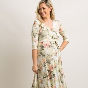 Pink blush Ivory Floral Maternity Wrap Maxi Dress